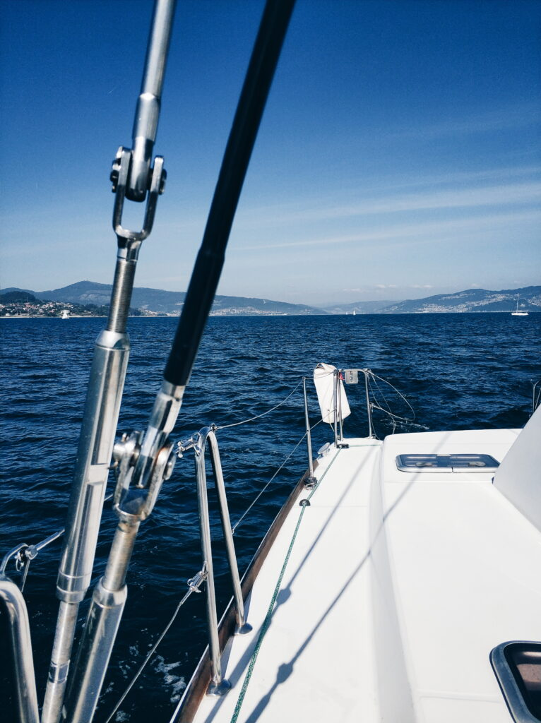 Sail Cies islands with dolphins
